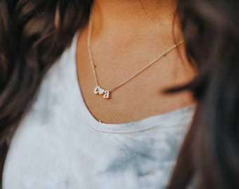 Gold Initial + Heart Necklace - Custom Jewelry - Custom Necklace- Initial Jewelry - Meaningful Jewelry - Love - Gift Idea