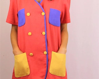 Funky 90's shirt dress 1980's party shirt vintage womens size S M L loud bright bold colours coral purple yellow art attack shirtdress multi