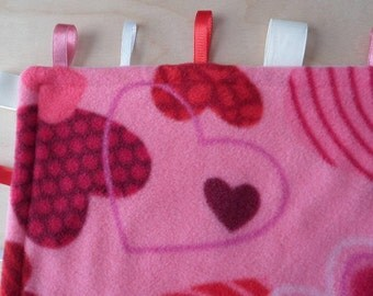 Heart lovey tag blanket