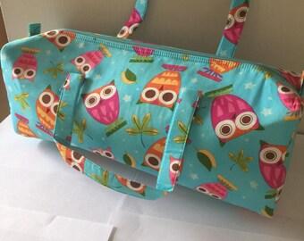 Luxury Knitting Bag Craft Bag Gift Hobby Sewing - Blue & Pink Owl Design Birds