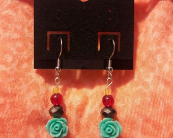 Tri-Colored Glass, Crystal and Turqoise Rose Earrings