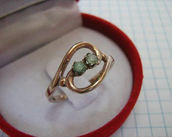 SOLID 925 Sterling Silver Rose Gold Plated Green Round Stones Ring Jewelry US size 9 Russian Ukrainian sz 19 Kharkov Kharkiv