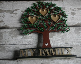 Wooden family Tree, Freestanding Family Tree, Personalised Family tree