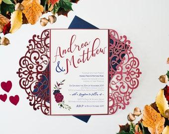 Burgundy Invitation, Laser Cut Invitation, Marsala Wedding Invitation, Winter Wedding Invitation, Autumn Wedding Invite, Winter Wonderland