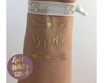 Bride & Bride Tribe Tattoo Gold Metallic Flash Tattoos Bachelorette Party Favors Beach Wedding Hen Party Bride Squad Team Bride