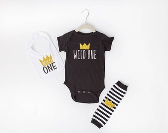 Wild 1 One 1st First Birthday Outfit Wild 1 Onesie Where The Wild Things Are Cake Smash Photo Prop Boy Gold Crown Leggings Leg Warmers Bib