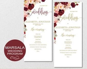 Wedding Program Printable, Wedding Program Template - Floral Marsala Peonies Wedding Program-DIY Editable PDF-DOWNLOAD Instantly | VRD137MPL