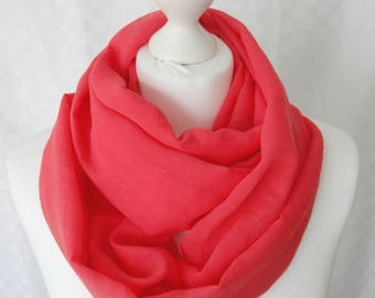 Pink cotton infinity scarf, Raspberry pink scarf, Circle scarf, Loop scarf, Scarf for her, Fashion scarf
