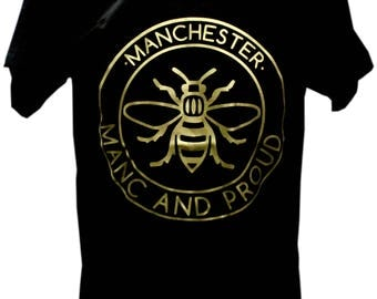 Matte Gold Manc and Proud Manchester Bee Gold Vinyl T-Shirt (TSHIRT40) Produced in UK Hacienda Northern Quarter Worker Bee