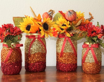 Thanksgiving Table Decorations Fall Decor Glitter Mason Jar Centerpieces Autumn