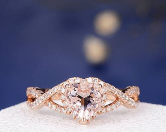 Morganite Engagement Ring Rose gold Heart Shaped Morganite Ring Split Shank Eternity Infinity Wedding Bridal Anniversary Promise Women Ring