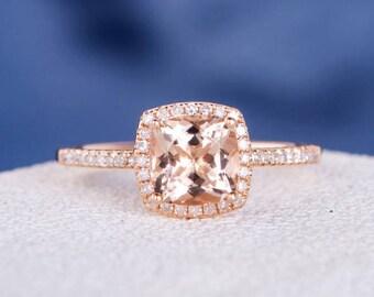 Cushion Cut Morganite Engagement Ring Rose Gold Halo Diamond Ring Half Eternity Ring Micro Pave Minimalist Wedding Ring Set Anniversary