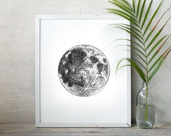 Moon Print – Stippled Drawing