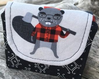 FREE SHIPPING to CANADA! Mini Slim line wallet, women's wallet, bifold wallet, cotton wallet, handmade wallet,beaver wallet,Burly Beaver