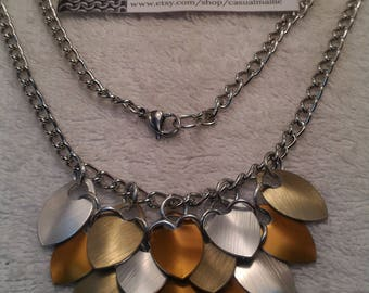 "Anodized Aluminum Small Scale Bib Necklace 18"" (random pattern)"