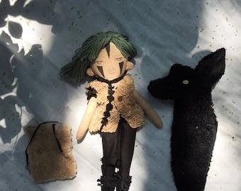 Jade Jackal spirit guardian doll. Handmade, wool filled doll