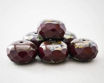 Faceted Czech glass beads, cut glass, donuts, pumpkins, washers, color chocolate, opaque beads 17 mm, 4 pcs.