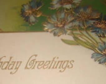 Nice Vintage Floral Postcard (Blue Cornflowers)