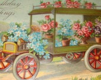 Pretty Vintage Embossed Floral/Fantasy Car Postcard