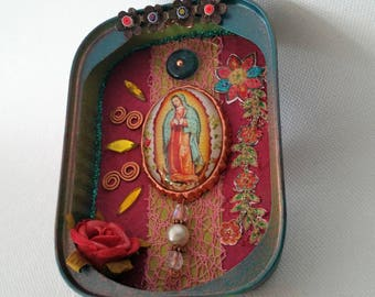 Lady of Guadalupe - shrine / very lovingly / shabby / turquoise and copper