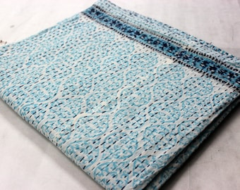 Hand made kantha quilt vintage twin size throw hand stitched Mughal Froze  print kantha bedcover