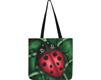 Tote Ladybug - tote bag art - red and green - tote bag art - art print - art Ladybug motif - free shipping