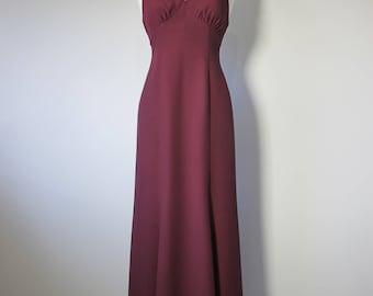 Vintage 80s BACKLESS Burgundy Halter Satin Crepe Maxi Slip Dress
