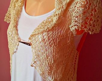 Crochet bolero, Handmade Vest, Unique Cotton , cotton shrug, wedding lace bolero, bridal cover shoulders, cotton cover up, lace shrug