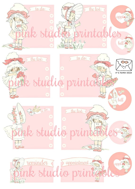 little sweeties 01 printable planner sticker sheet vintage style vintage ephemera