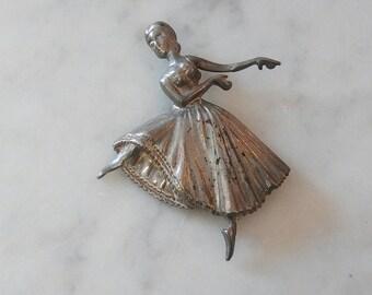 Vintage Sterling Silver Ballerina Dancer Brooch