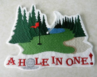 Golf Hole in One Iron-on Patch // Iron on Patch // Embroidered Patch
