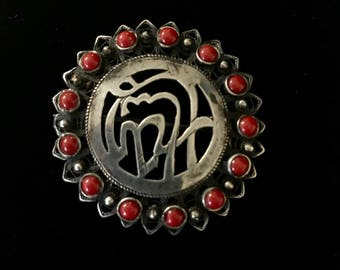 Silver Egyptian Coral Brooch