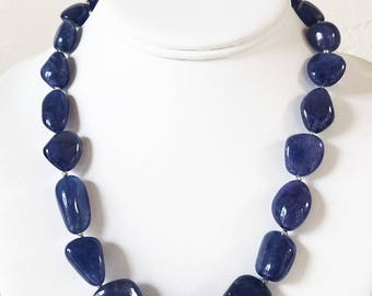 550 Carat AAA Tanzanite and Sterling Silver Beaded Necklace -  One of a Kind December Birthstone