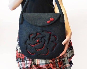 Black Wool Handbag, Hand Felted Bag with Felt Red Rose, Ready To Ship