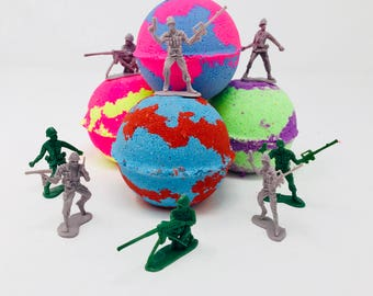 Sale! Three or Five 7.0 oz Easter Egg Army Solders Birthday Party Favors Bath Bomb with Surprise Toy Figures Inside