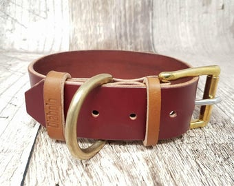 Large Classic Buckle Leather Dog Collar - 1 1/2''