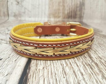 Lined and laced Classic Buckle Leather Dog Collar - 3/4 '' (medium)
