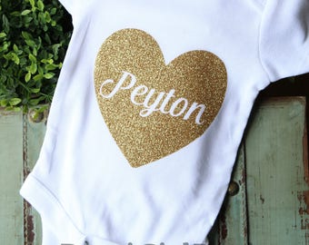 glitter baby shirt, glitter name shirt, baby heart outfit, custom baby shirt, hospital outfit, baby name shirt, custom glitter shirt