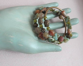 Czech Glass Picasso, Amazonite and Antique Bronze Memory Wire Bracelet - Buddha Heads
