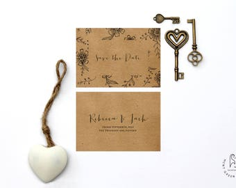 Rustic Save the Date - Wedding Invites Set Hand Drawn Floral