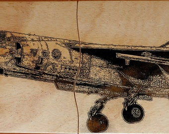 Mirage F1. Pyrography on wood