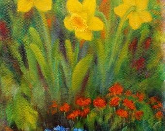 Oil Painting Daffodil Garden