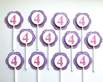 12 PERSONALIZED NUMBER Cupcake Toppers - Party Picks