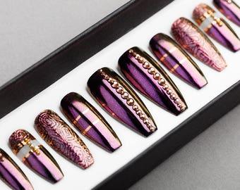 Amazing Purple Press on Nails | Rose Gold Swarovski | Handpainted Nail Art | Fake Nails | False Nails | Glue On Nails
