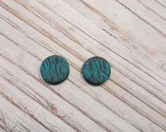 Small Teal Texture Studs