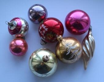 Set of 8 Soviet Vintage Christmas Tree ornaments Collectible Vintage Glass ornaments USSR Glass ornaments Glass Christmas decorations #12