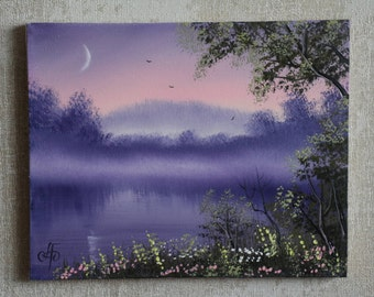 """Painting """"Quiet evening"""", painting on canvas, with the author's signature, 7.9х9.8 inches (20х25 cm)"""