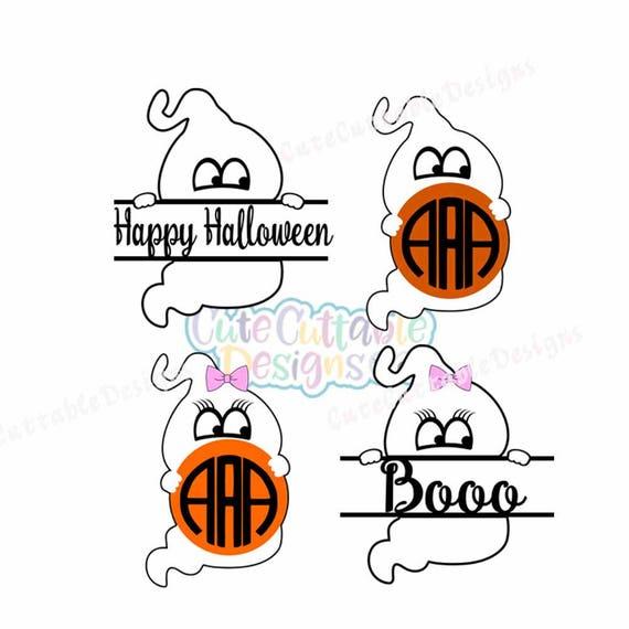 Ghost Monogram Svg Ghost Girl Svg Halloween Svg Bow Svg