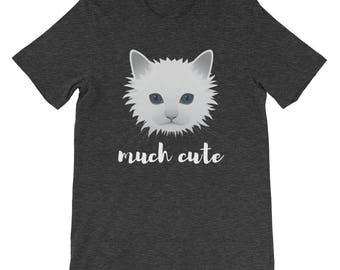 Much Cute White Cat Kitten Cat Lover Owner Cat Lady Gift Idea Short-Sleeve Unisex T-Shirt