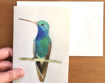 Blank Hummingbird Greeting Card, Hummingbird Card, Blank Card, Handmade Card, Birthday, Thank You, Any Occasion